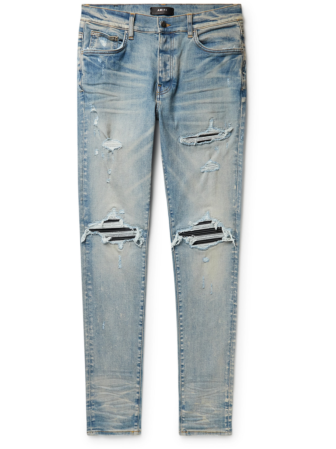 MX1 Skinny-Fit Panelled Distressed Jeans