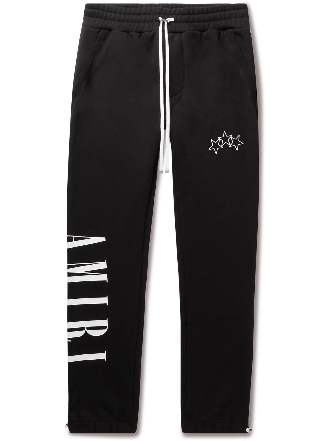 Slim-Fit Tapered Logo-Print Cotton-Jersey Sweatpants