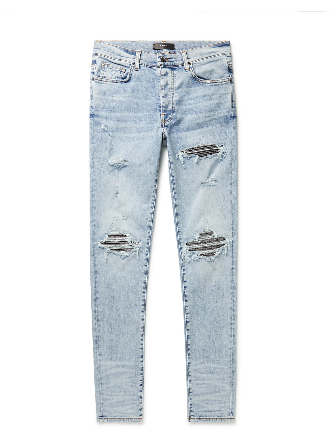 MX1 Skinny-Fit Lamé-Panelled Distressed Jeans