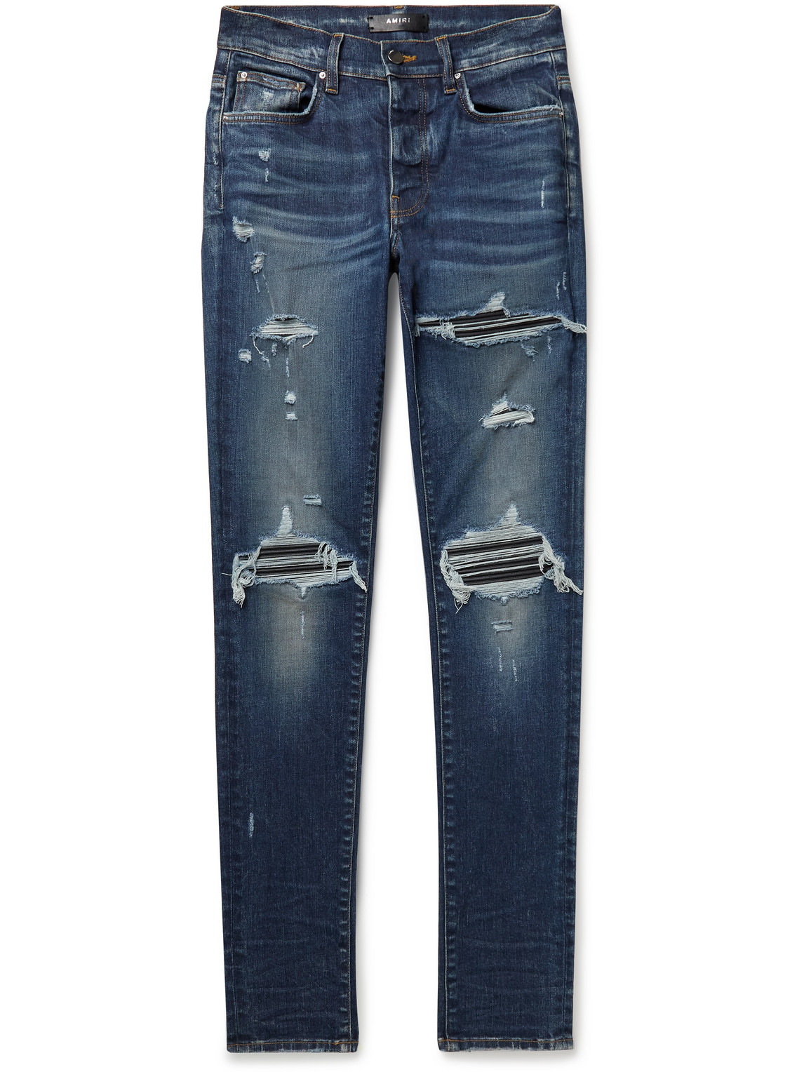 MX1 Skinny-Fit Distressed Leather-Panelled Stretch-Denim Jeans