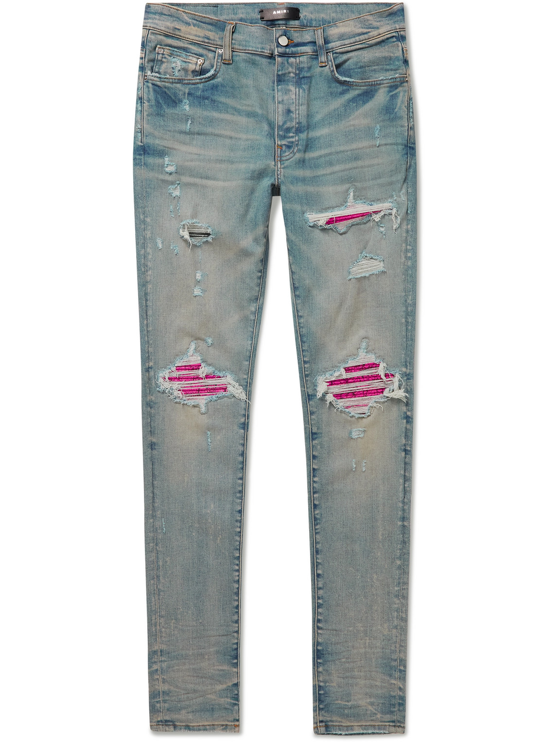 MX1 Skinny-Fit Leather-Panelled Jeans