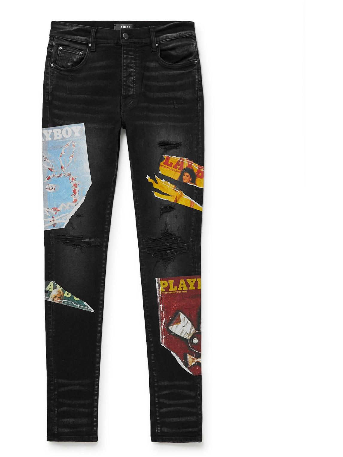 Skinny-Fit Distressed Printed Jeans