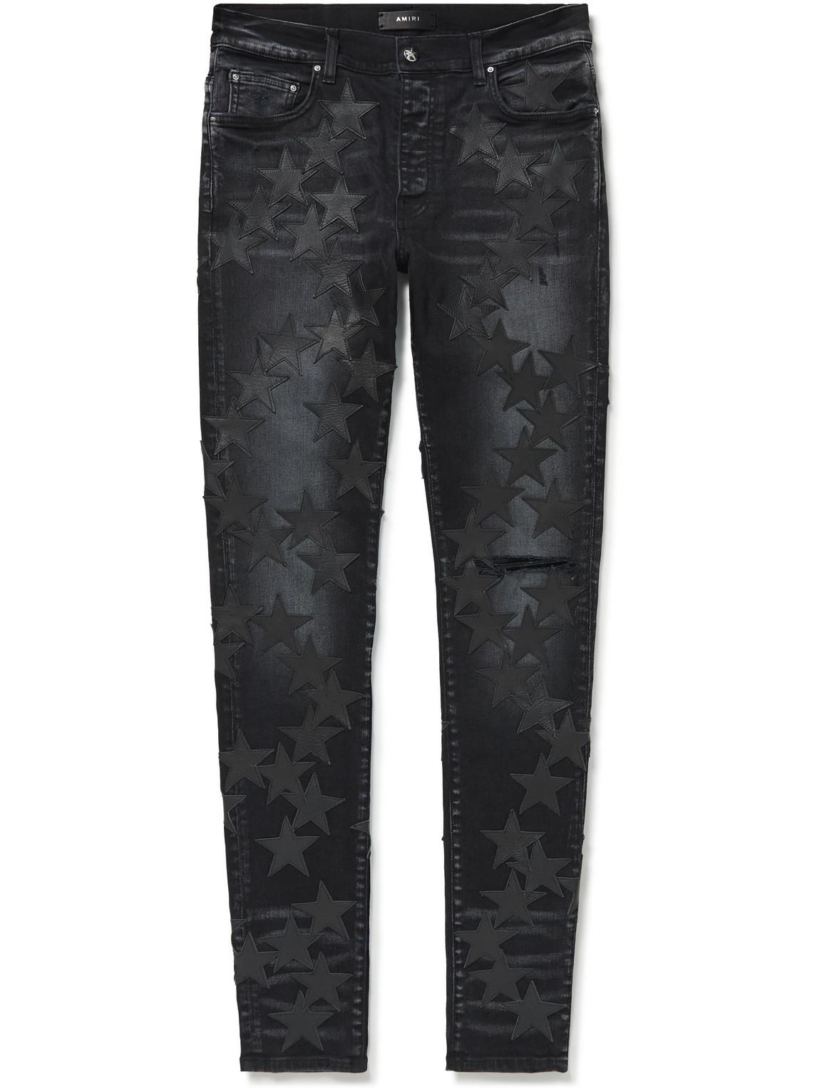 Chemist Slim-Fit Leather-Appliquéd Distressed Stretch-Denim Jeans