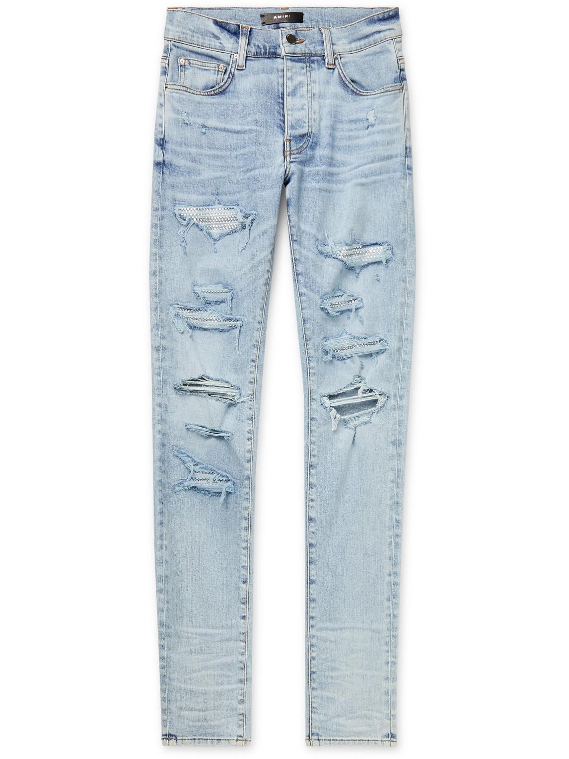 Skinny-Fit Swarovski Crystal-Embellished Distressed Stretch-Denim Jeans