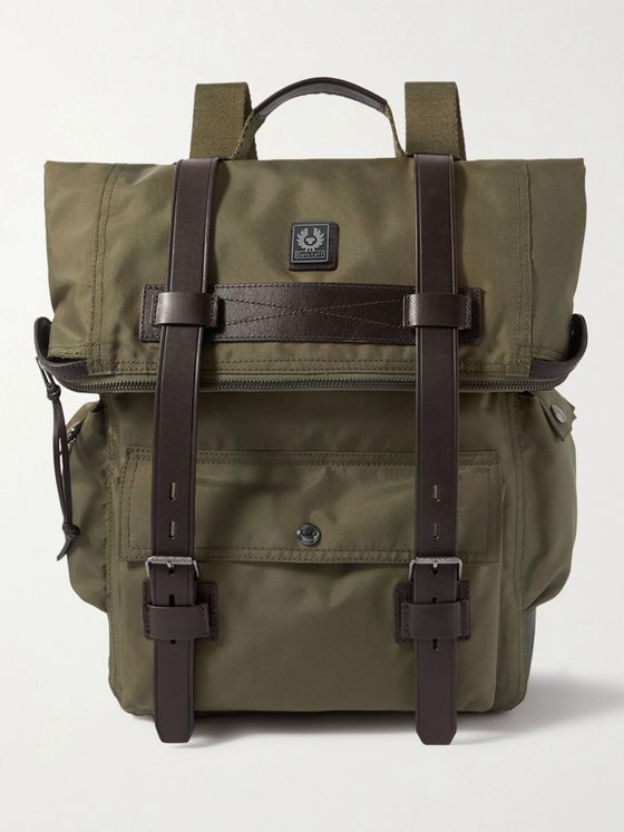BELSTAFF Bruce Logo-Appliquéd Leather-Trimmed Canvas Backpack
