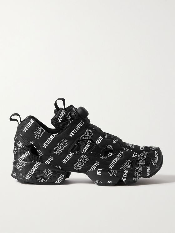 VETEMENTS + Star Wars + Reebok InstaPump Fury Logo-Print Canvas and Mesh Sneakers