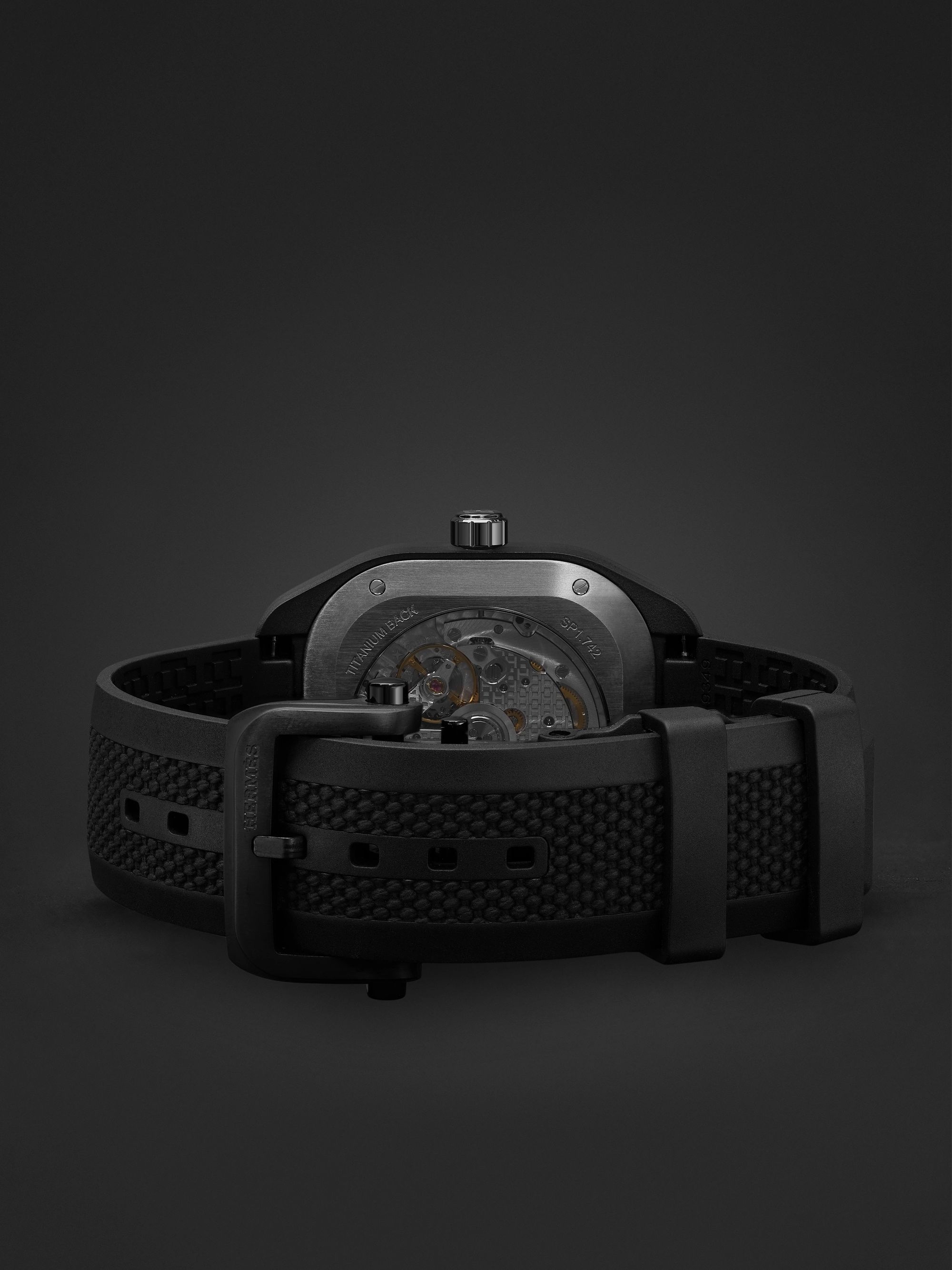 HERMÈS TIMEPIECES H08 Automatic 39mm Graphene and Rubber Watch, Ref. No. 049433WW00
