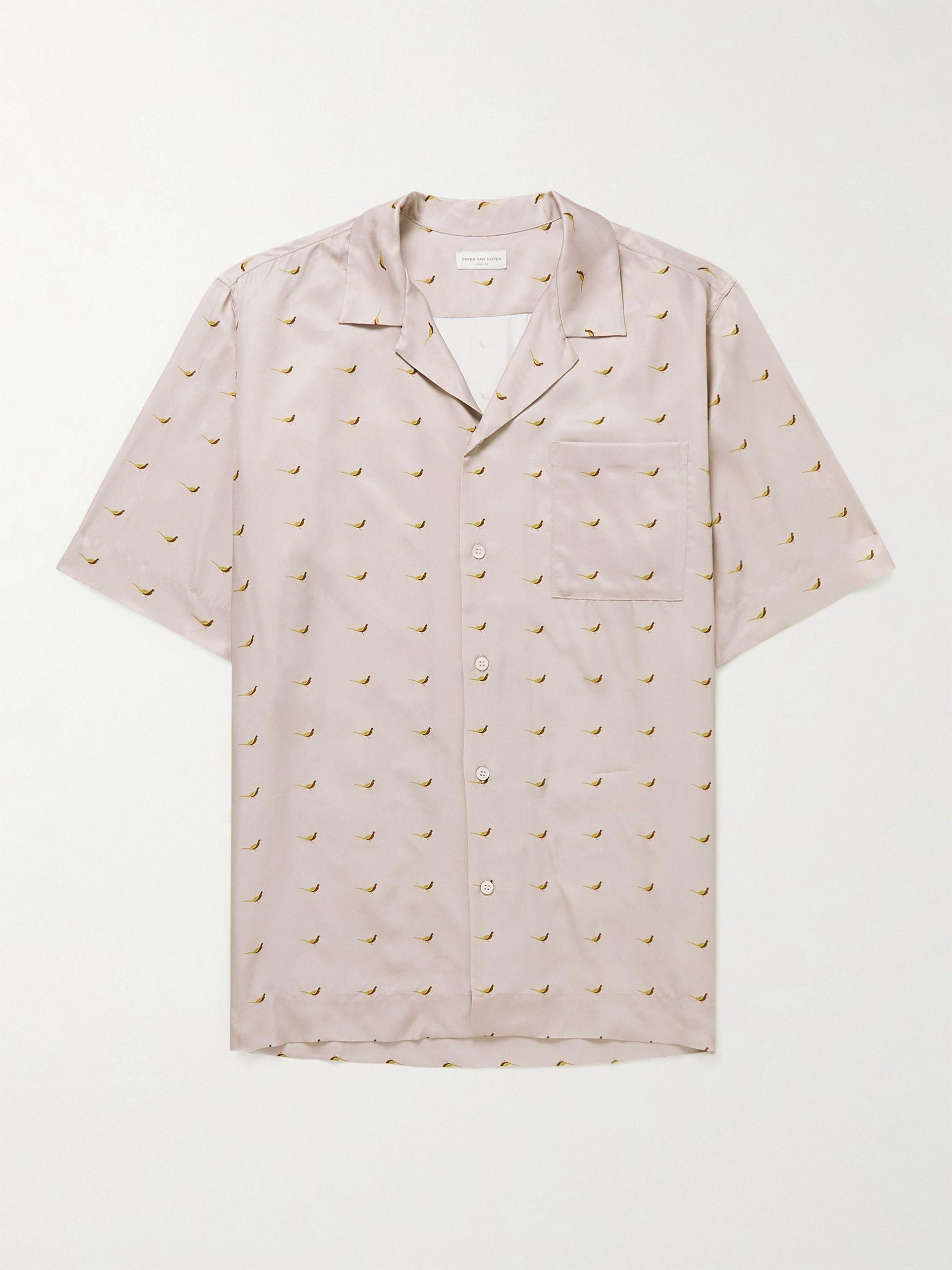 Dries Van Noten Carltone Camp-Collar Printed Satin Shirt,Pink