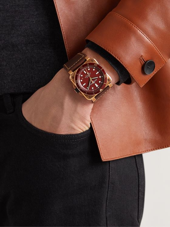 BELL & ROSS BR 03-92 Diver Red Limited Edition Automatic 42mm Bronze and Leather Watch, Ref. No. BR0392-D-R-BR/SCA