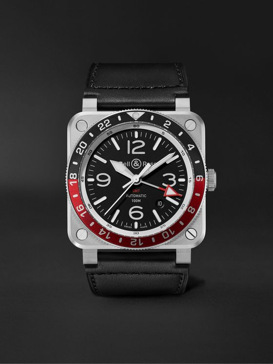 BELL & ROSS BR 03-93 GMT Automatic 42mm Stainless Steel and Leather Watch, Ref. No. BR0393-BL-ST/SCA
