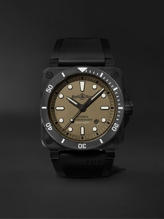 BELL & ROSS BR 03-92 Diver Military Limited Edition Automatic 42mm Ceramic and Rubber Watch, Ref. No. BR0392-D-KA-CE/SRB