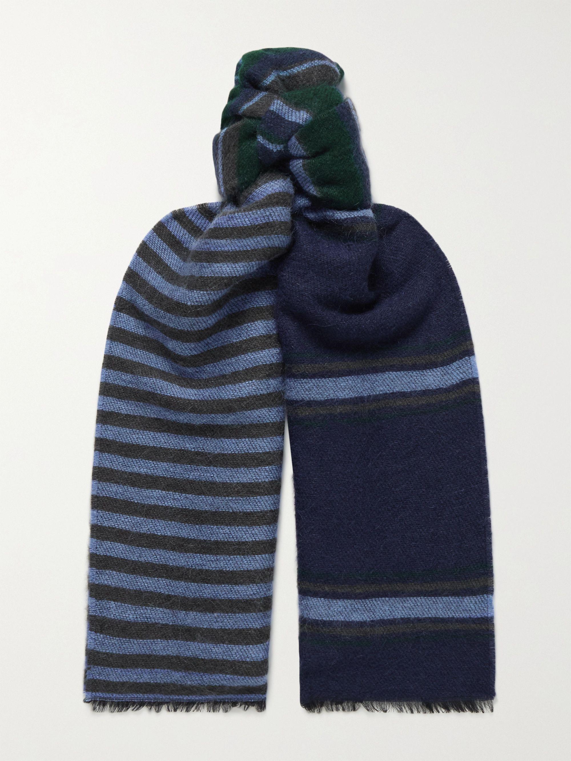 폴 스미스 스카프 Paul Smith Frayed Striped Knitted Scarf,Blue