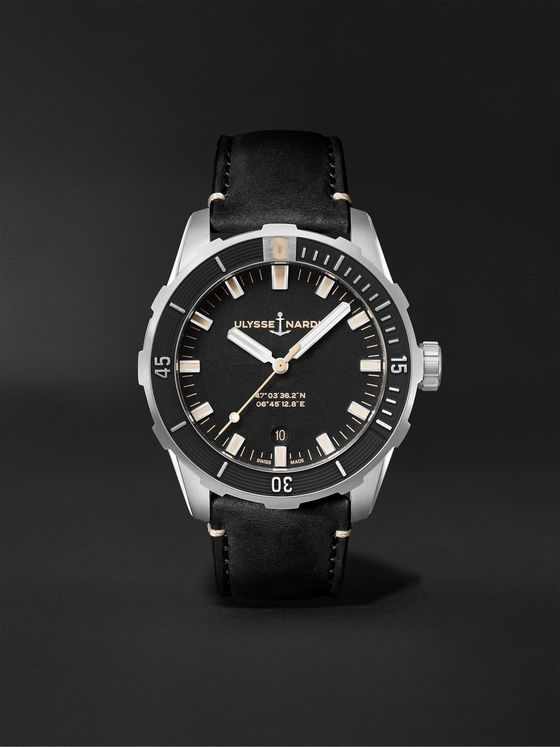 ULYSSE NARDIN Diver Automatic 42mm Stainless Steel and Leather Watch, Ref. No. 8163-175/92
