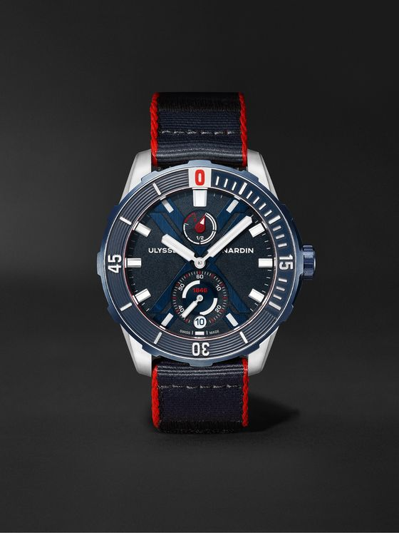 ULYSSE NARDIN Diver X Nemo Point Limited Edition Automatic 44mm Titanium and Webbing Watch, Ref. No. 1183-170LE/93-NEMO