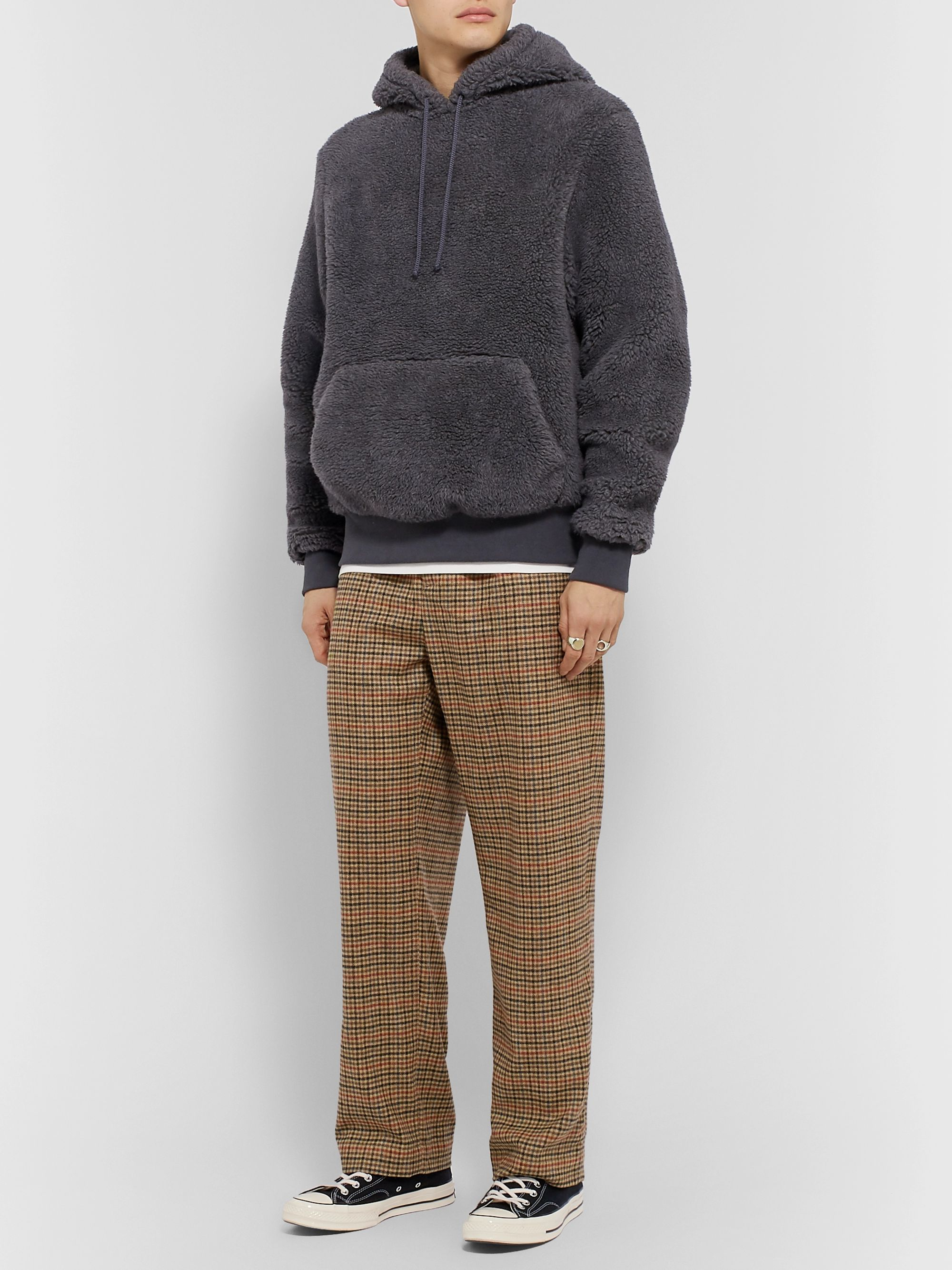 Noah Pleated Checked Wool and Cashmere-Blend Trousers