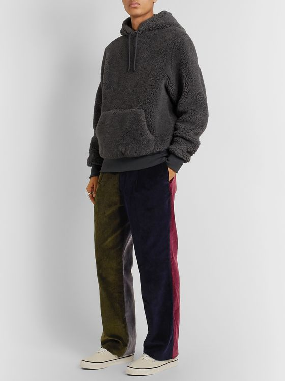 Noah Pleated Colour-Block Cotton-Corduroy Suit Trousers