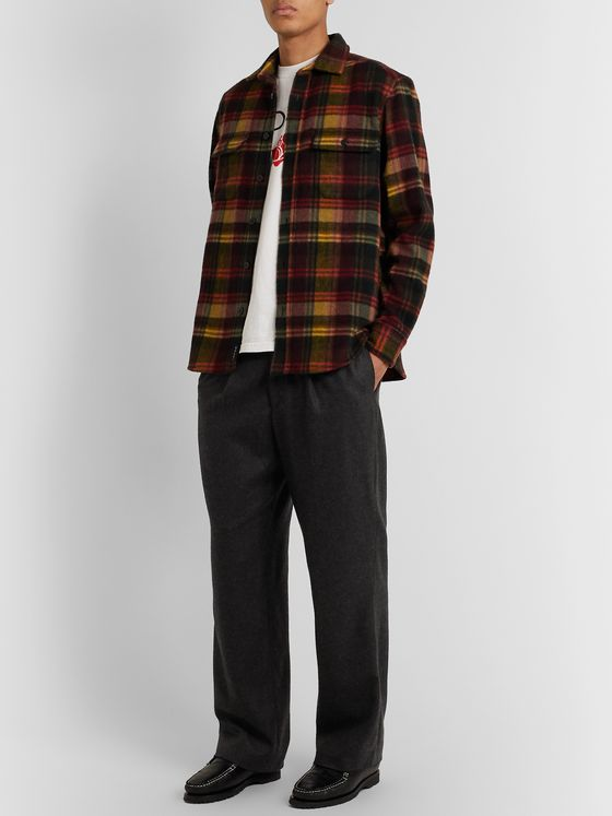 Noah Charcoal Pleated Checked Wool and Cashmere-Blend Suit Trousers