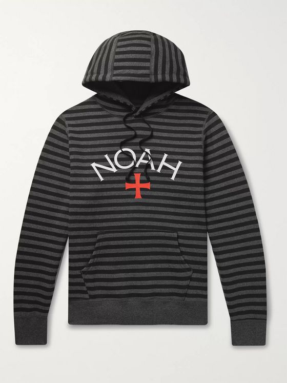 Noah Logo-Print Striped Fleece-Back Cotton-Jersey Hoodie