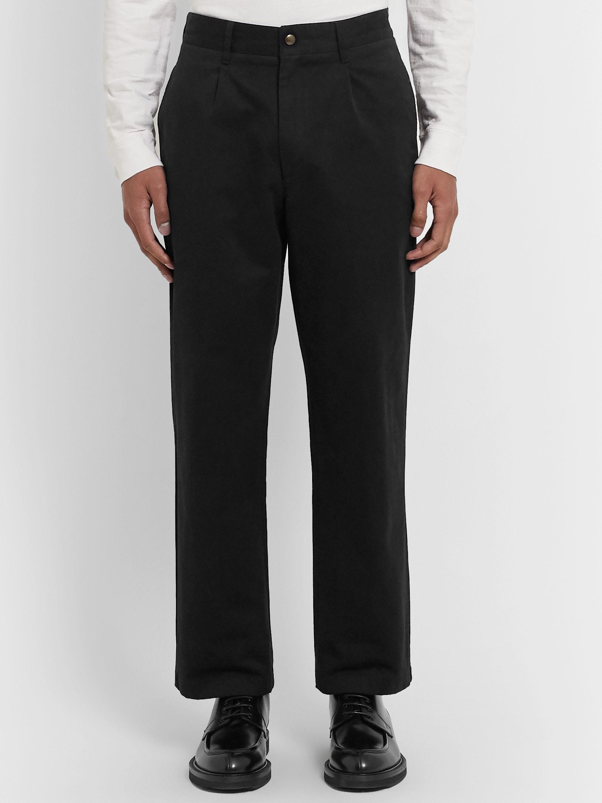 Noah Pleated Brushed-Cotton Chinos