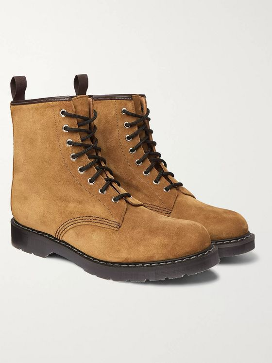 Noah + Solovair Leather-Trimmed Suede Boots