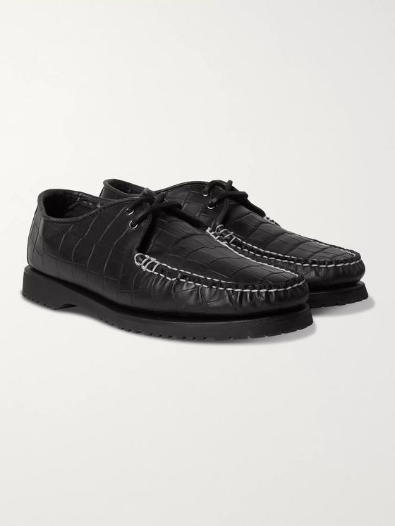 Noah + Sperry The Captain's Oxford Croc-Effect Leather Shoes