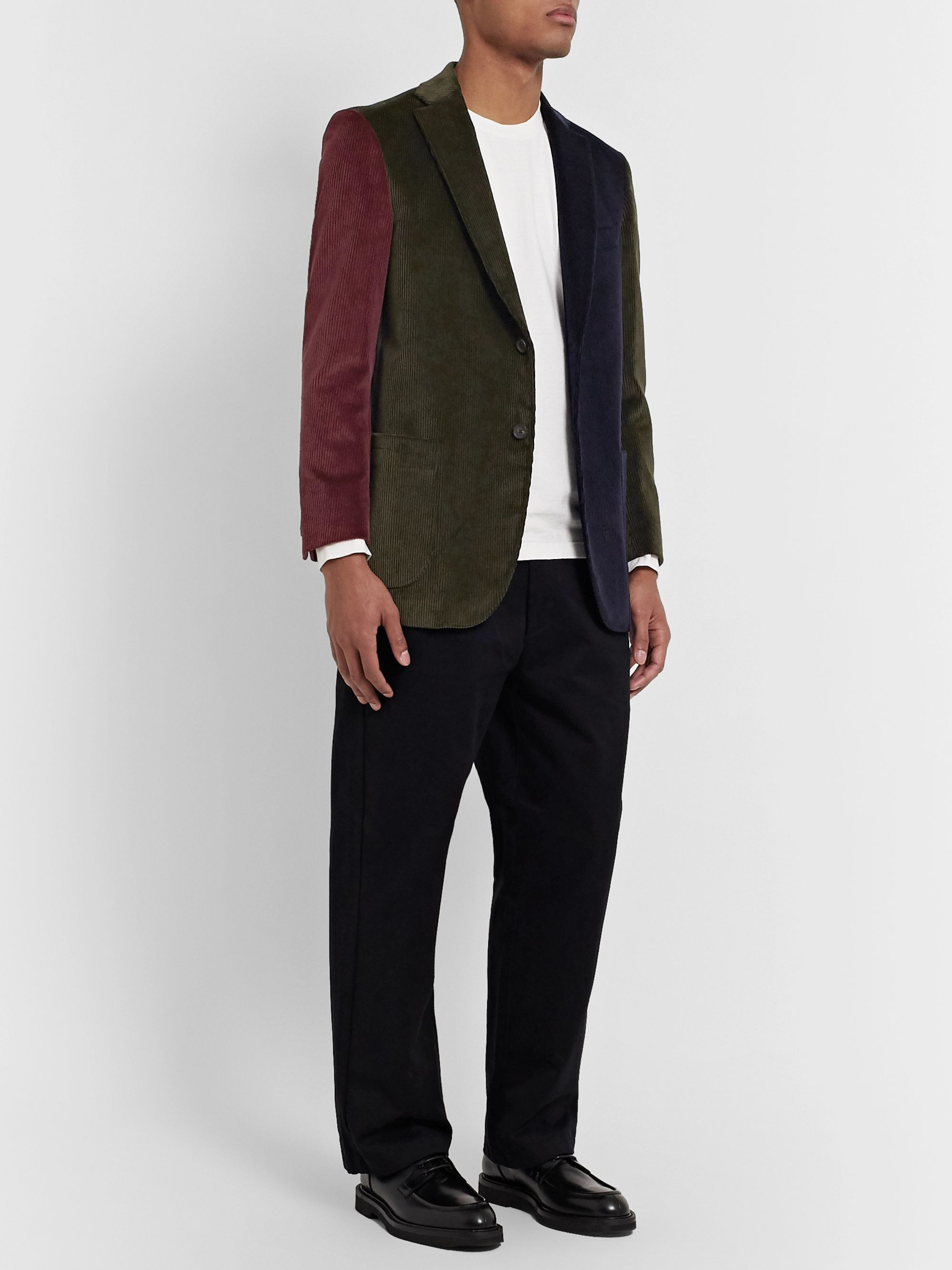 Noah Colour-Block Cotton-Corduroy Suit Jacket
