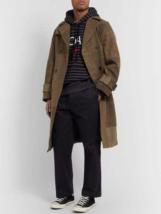 Noah Patchwork Double-Breasted Wool Trench Coat