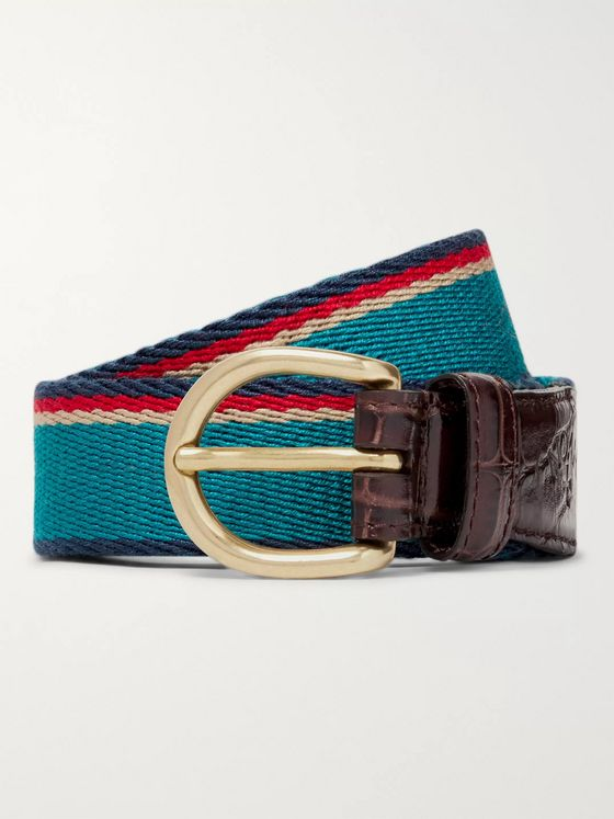 Noah 3cm Teal Croc-Effect Leather-Trimmed Striped Webbing Belt