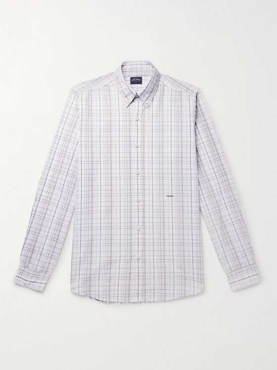 Noah Button-Down Collar Checked Cotton-Poplin Shirt