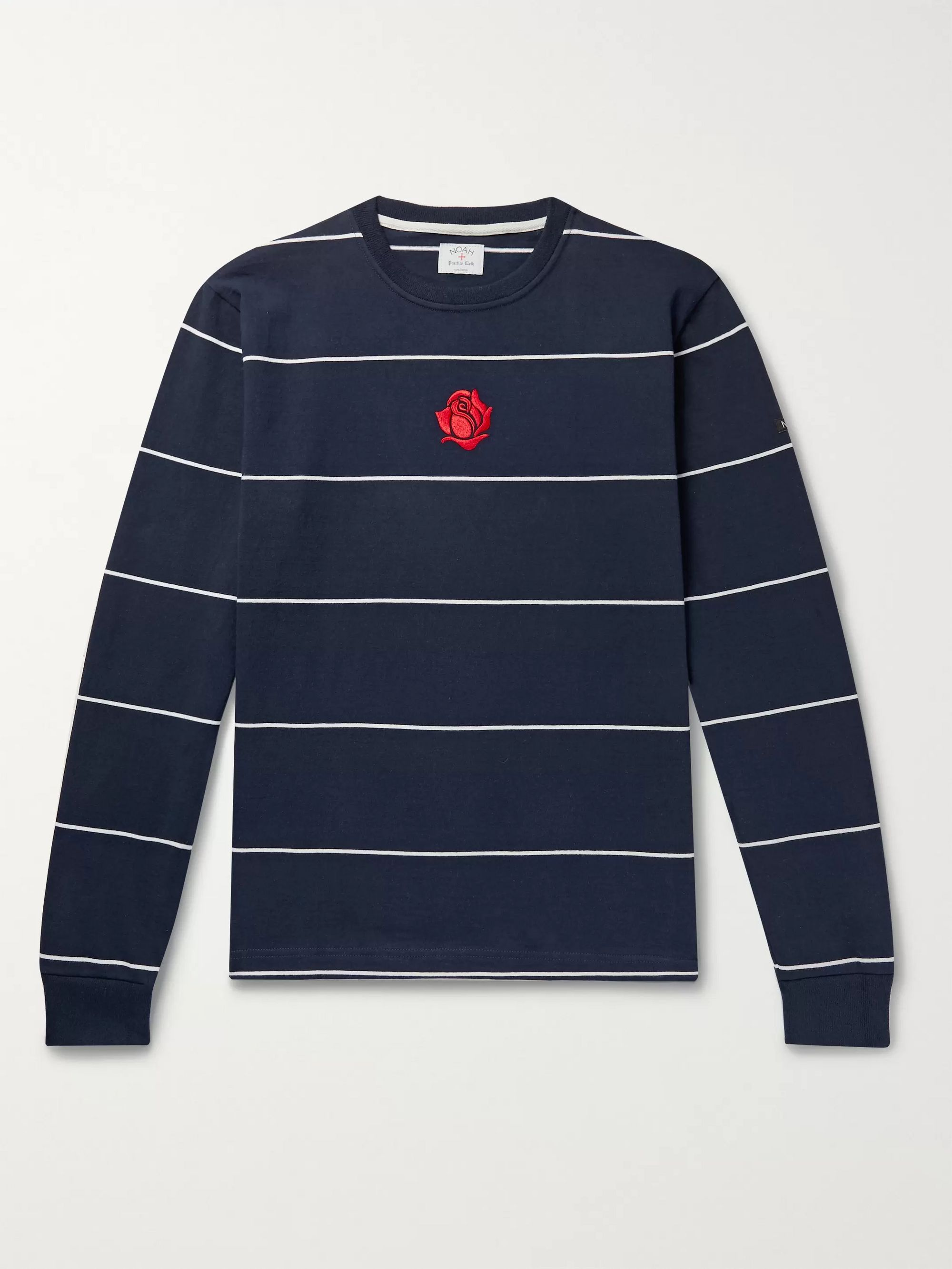 Logo Embroidered Striped Cotton Jersey T Shirt by Mr Porter