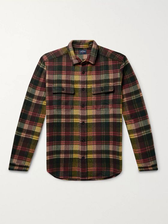 Noah CPO Checked Cashmere Overshirt