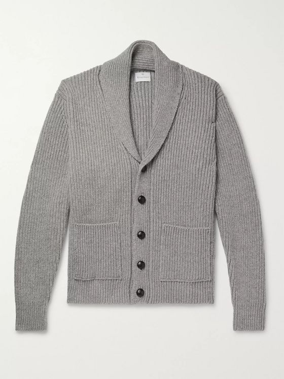 Kingsman Shawl-Collar Ribbed Wool and Cashmere-Blend Cardigan