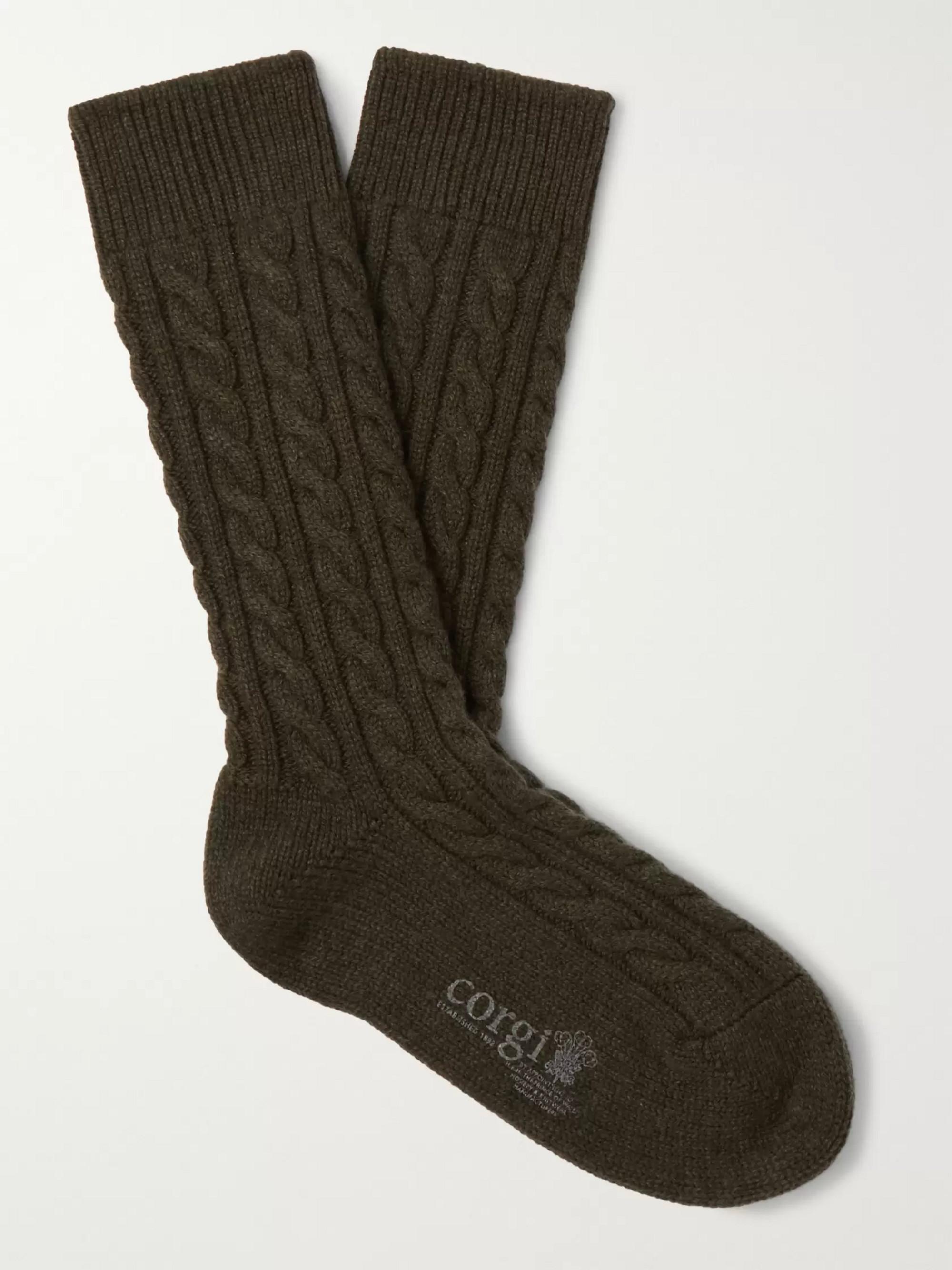 Kingsman Cable-Knit Cashmere Socks