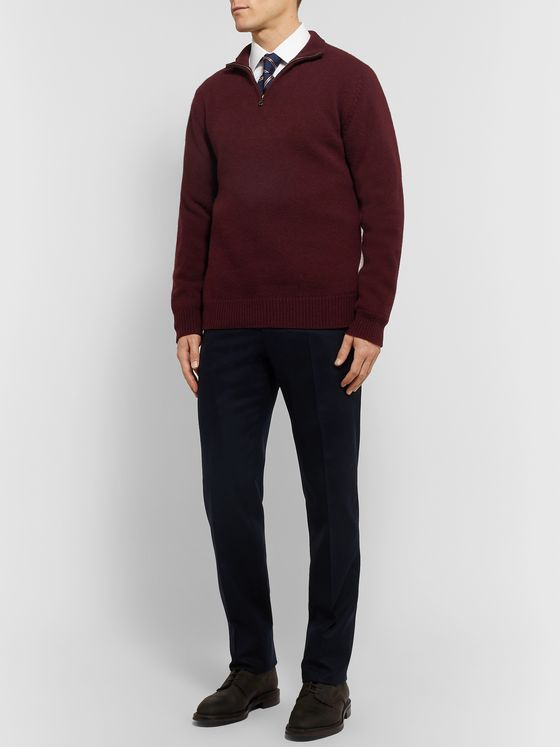 Kingsman Wool and Cashmere-Blend Half-Zip Sweater