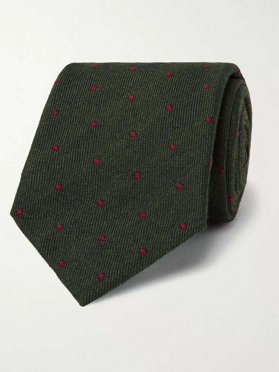 Kingsman + Drake's 8cm Polka-Dot Cotton, Silk, Cashmere and Wool-Blend Tie