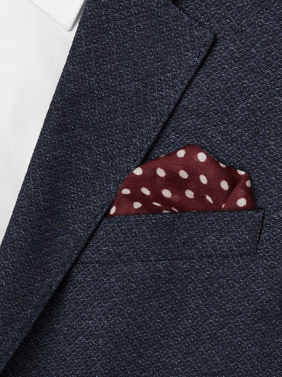 Kingsman Polka-Dot Wool and Silk-Blend Pocket Square