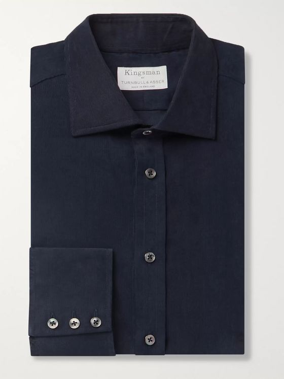 Kingsman + Turnbull & Asser Navy Cotton-Corduroy Shirt
