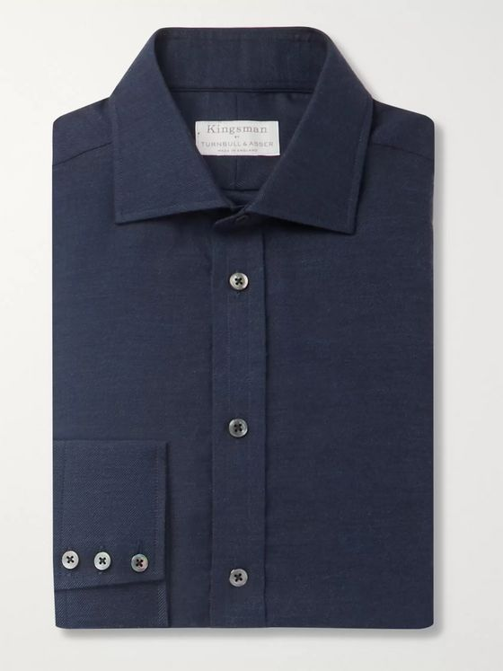 Kingsman + Turnbull & Asser Navy Striped Cotton and Cashmere-Blend Shirt
