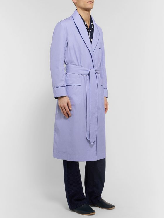 Kingsman + Turnbull & Asser Piped End-on-End Cotton Robe