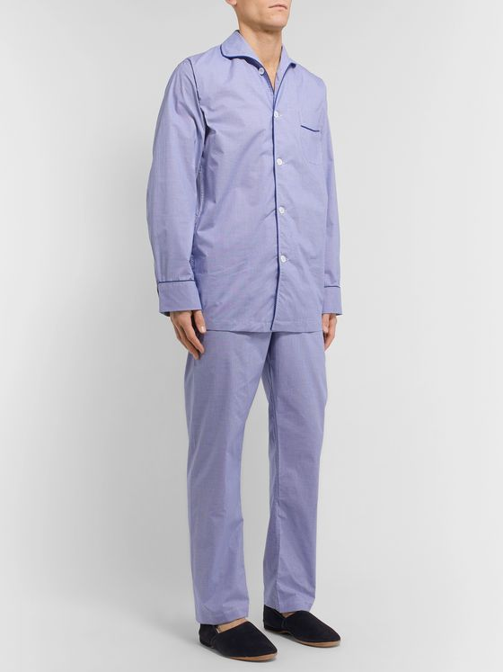 Kingsman + Turnbull & Asser Piped Gingham Cotton Pyjama Set