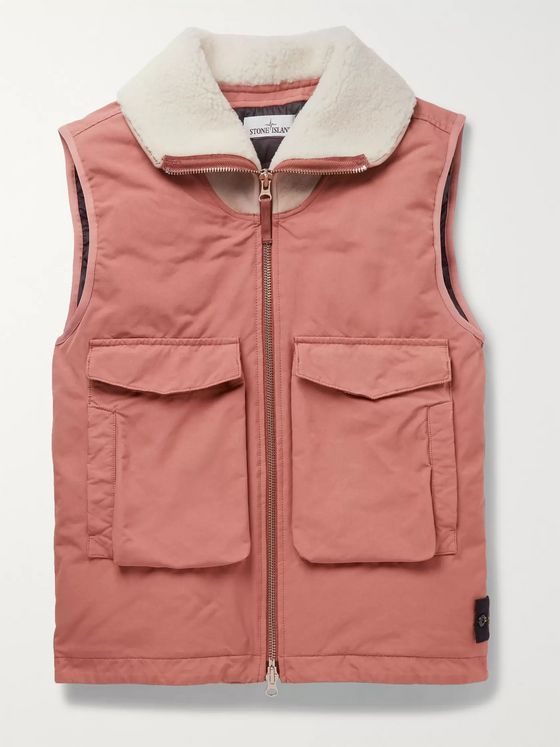 Stone Island Shearling-Trimmed Garment-Dyed David-TC Down Gilet