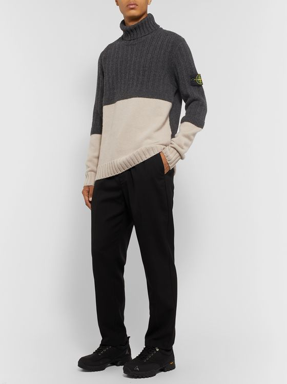 Stone Island Logo-Appliquéd Colour-Block Virgin Wool Rollneck Sweater