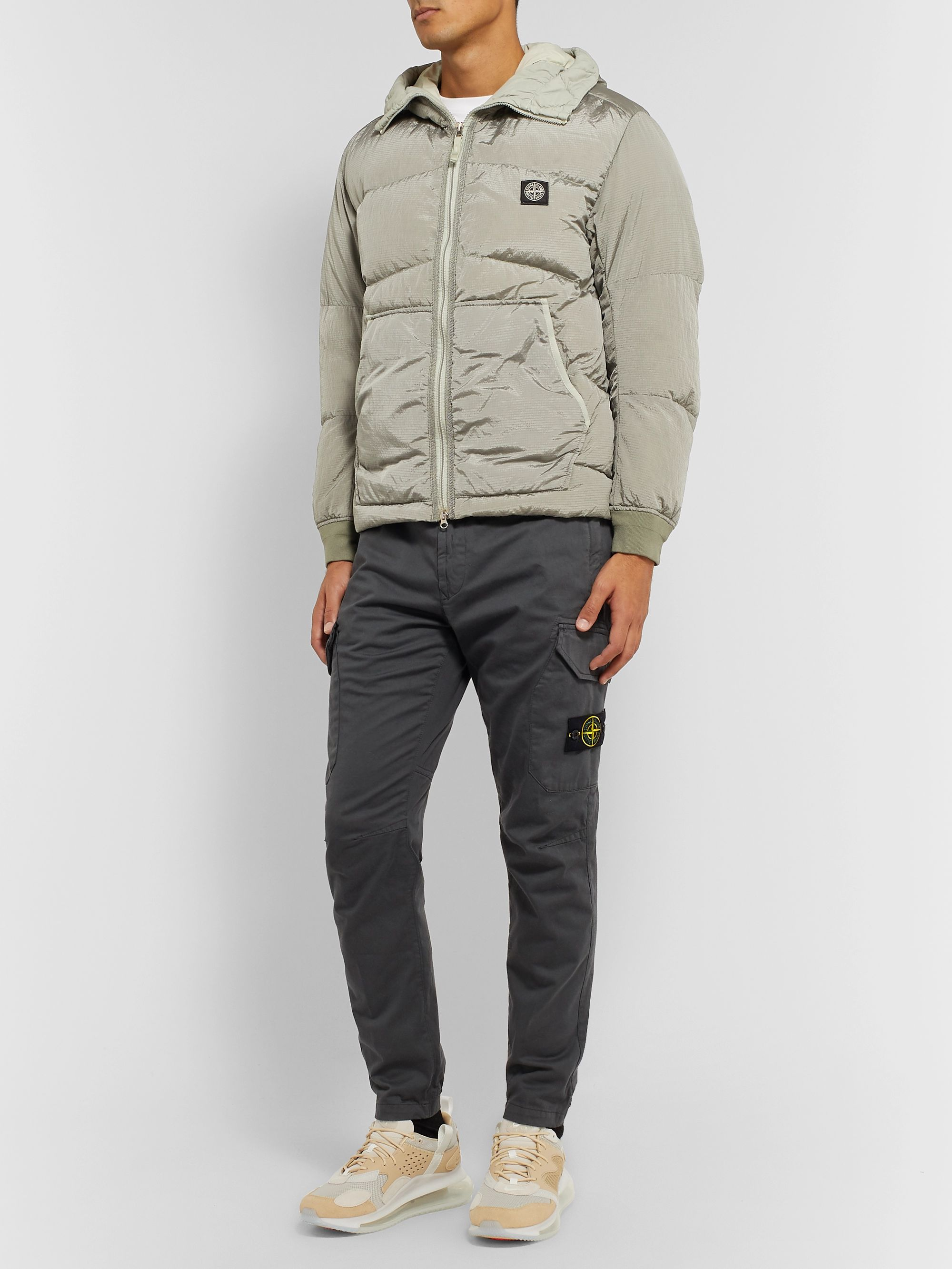 Stone Island Tapered Stretch Cotton and Wool-Blend Cargo Trousers