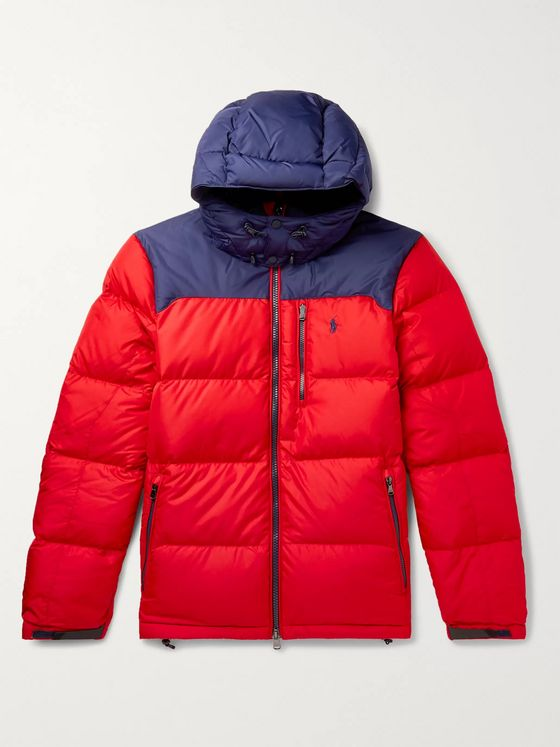 Polo Ralph Lauren Colour-Block Quilted Shell Hooded Down Jacket