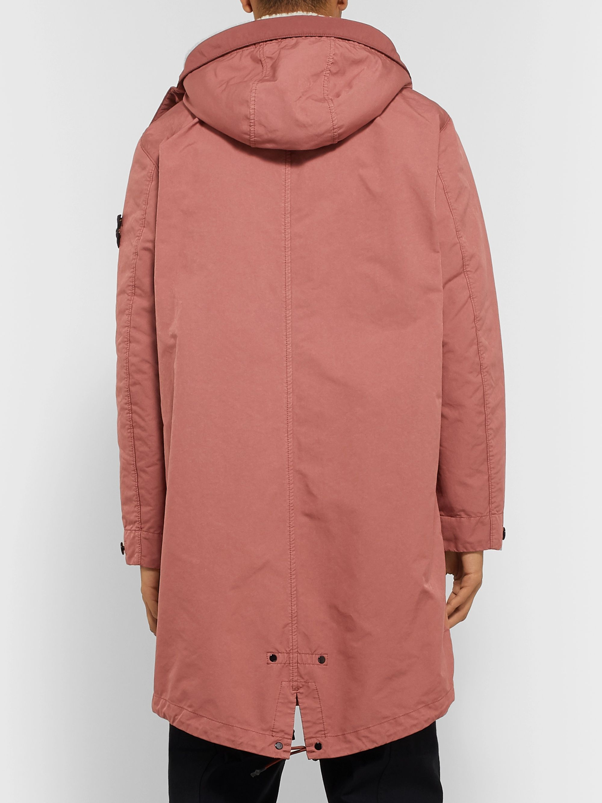 Stone Island Shearling-Trimmed Garment-Dyed David-TC Parka with Detachable Liner