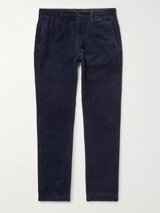 Massimo Alba Navy Winch 2 Slim-Fit Cotton-Corduroy Trousers