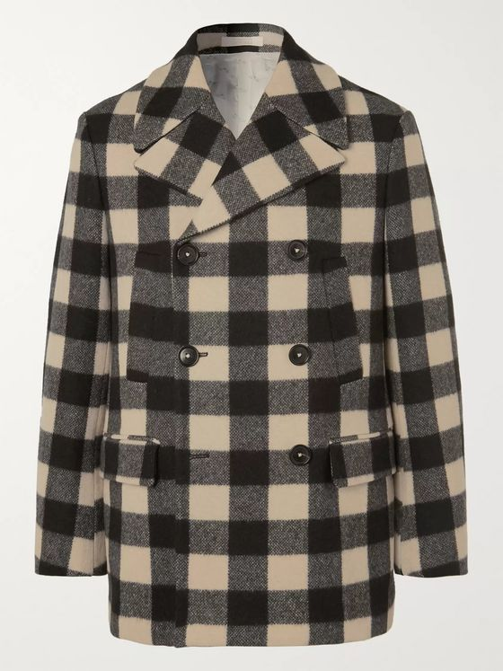 Massimo Alba Bellagio Checked Wool-Blend Peacoat