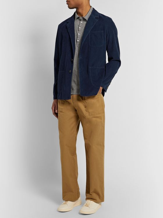 Massimo Alba Blue Unstructured Cotton-Corduroy Blazer