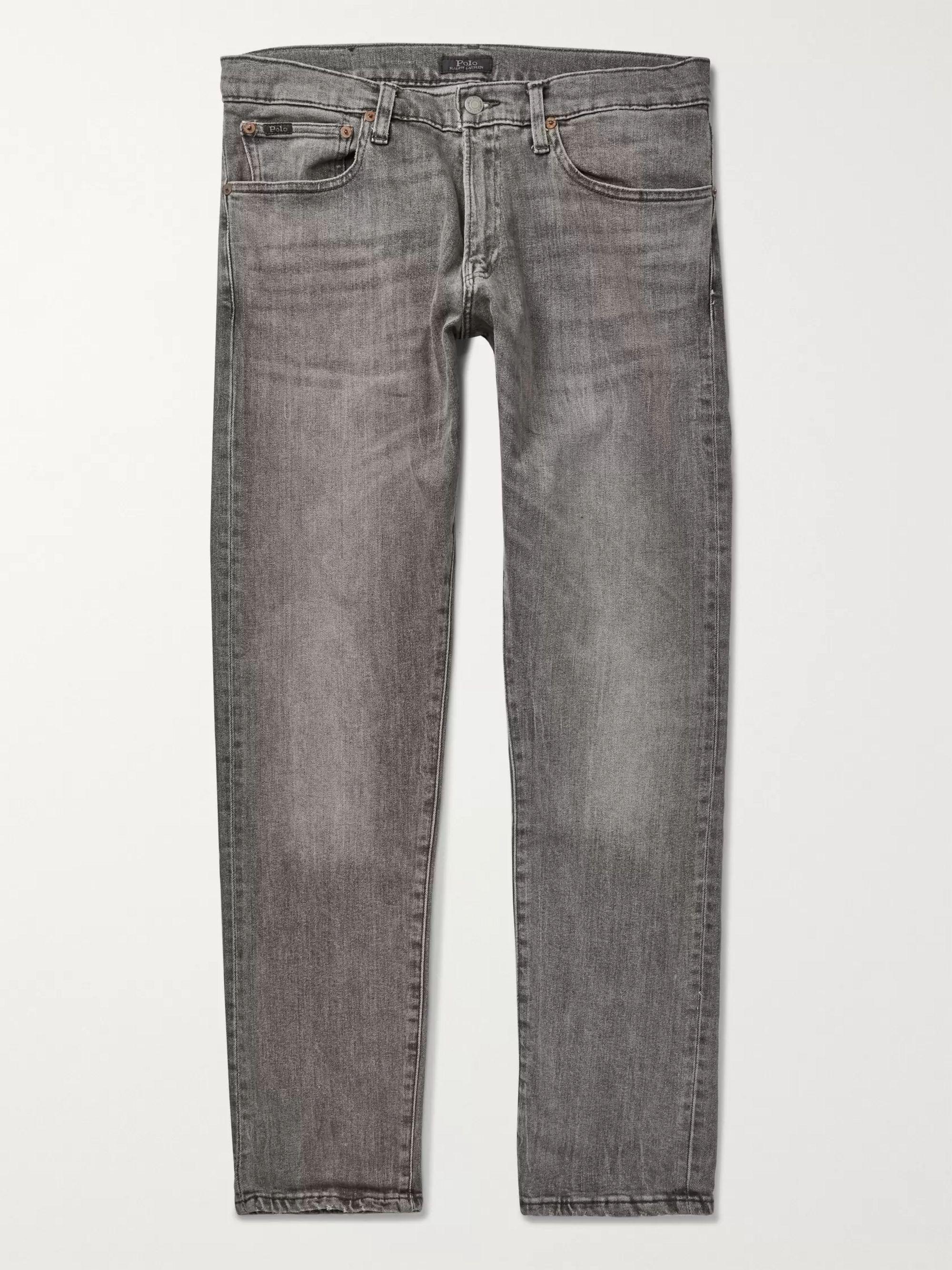 폴로 랄프로렌 Polo Ralph Lauren Gray Warren Slim-Fit Stretch-Denim Jeans,Gray