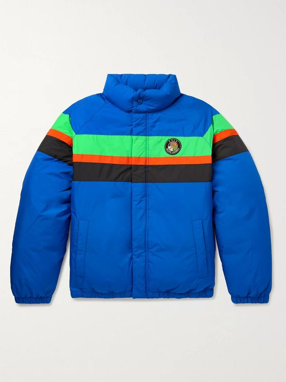 Polo Ralph Lauren Slim-Fit Grosgrain-Trimmed Striped Shell Hooded Down Bomber Jacket